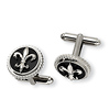 Titanium Fleur-de-lis Polished Cuff Links