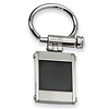 Stainless Steel Black Carbon Fiber Brushed & Polished Key Ring