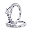 Vintage Style Princess-Cut CZ Engagement Ring Set - Sterling Silver