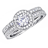Round Cut Pave Halo CZ Engagement Ring Set in Sterling Silver