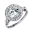 Art Deco Sterling Silver Halo Round CZ Engagement Ring