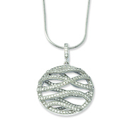 round wave design micro pave cz sterling silver pendant necklace