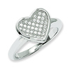 Elliot Skye Micro Pave Set CZ Heart Design Sterling Silver Ring