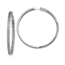 CZ silver hoop earrings