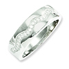 Elliot Skye Sterling Silver CZ Wave Pattern Polished Wedding Ring