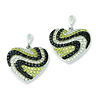 Elliot Skye Sterling Silver Wave Design CZ Heart Shape Post Earrings