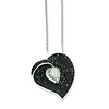 Elliot Skye Sterling Silver Black & White Micro Pave CZ Floating Heart Charm Necklace