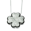 Elliot Skye Silver Black & White CZ 4 Leaf Clover Lucky Charm Necklace