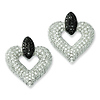 Elliot Skye Sterling Silver Black & White Open Heart Micro Pave CZ Earrings