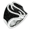 Elliot Skye Sterling Silver Black & White Micro Pave CZ Fancy Ring