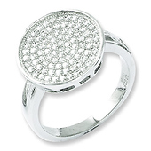 Elliot Skye Flat Circle Micro Pave CZ Sterling Silver Cocktail Ring