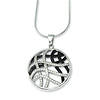 Elliot Skye Sterling Silver Black & White CZ Round Wave Design Charm Necklace