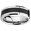 8mm Black Carbon Fiber Inlay Cobalt Free Tungsten Carbide Comfort-fit Wedding Band