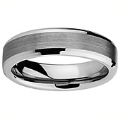 6mm Beveled Edge Cobalt Free Tungsten Carbide Comfort-fit Wedding Band