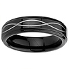6mm Laser Strip Black Cobalt Free Tungsten Carbide Comfort-fit Wedding Band