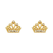 14K Yellow Gold Plated Tiara CZ Stud Earrings