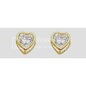 14K Yellow Gold Plated Heart Bezel CZ Stud Earrings with Screw-back