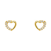 Open Heart 14K Yellow Gold Plated CZ Stud Earrings
