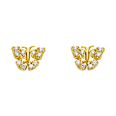 14K Yellow Gold Plated Cubic Zirconia Butterfly Stud Earrings