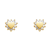 14K Yellow Gold Plated Heart CZ Stud Earrings