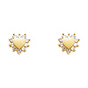 14K Yellow Gold Plated Heart CZ Stud Earrings with Screw-back