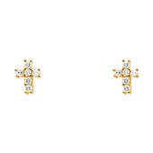 14K Yellow Gold Plated Cross Round CZ Stud Earrings