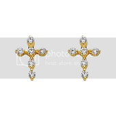 14K Yellow Gold Plated Cross CZ Stud Earrings with Screw-back