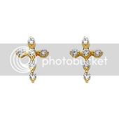 14K Yellow Gold Plated Cross CZ Stud Earrings