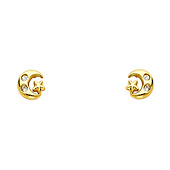 14K Yellow Gold Plated Moon & Star CZ Stud Earrings