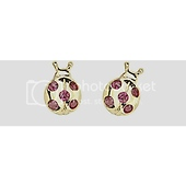 14K Yellow Gold Plated Red Snail CZ Stud Earrings with Screw-back