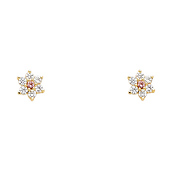 14K Yellow Gold Plated Pink Flower CZ Stud Earrings