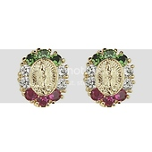 Lady Guadalupe 14K Yellow Gold Plated Red & Green CZ Stud Earrings