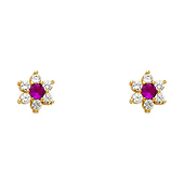 14K Yellow Gold Plated Red Flower CZ Stud Earrings