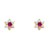 14K Yellow Gold Plated Red Flower CZ Stud Earrings with Screw-back