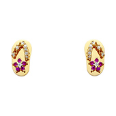 14K Yellow Gold Plated Berry CZ Stud Earrings