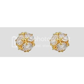 14K Yellow Gold Plated CZ Stud Earrings