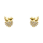 14K Yellow Gold Plated Baby Bird CZ Stud Earrings