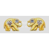 14K Yellow Gold Plated Elephant CZ Stud Earrings