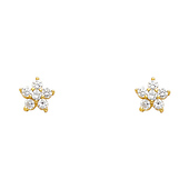 14K Yellow Gold Plated Flower CZ Stud Earrings