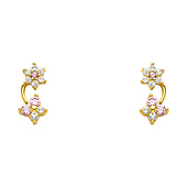 Flower & Butterfly 14K Yellow Gold Plated Red Pink CZ Stud Earrings