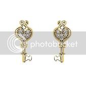 14K Yellow Gold Plated Heart Key CZ Stud Earrings