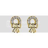 14K Yellow Gold Plated Ribbon CZ Stud Earrings with Screw-back