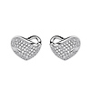 .925 Sterling Silver CZ Micro Pave Heart Wave Shimmering Stud Earrings with Push-back