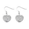 Swirling Heart Shimmering CZ Sterling Silver Drop Earrings