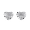 .925 Sterling Silver CZ Micro Pave Shimmering Heart Stud Earrings with Push-back