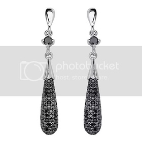 Teardrop Micro Pave Black CZ Sterling Silver Dangle Earrings