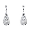 Double Teardrop Micro Pave CZ Sterling Silver Dangle Earrings