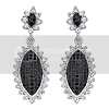 Shimmering Halo Antique Design CZ Sterling Silver Drop Earrings