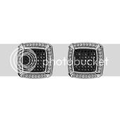 Shimmering Black & White Contrast Square CZ Stud Earrings