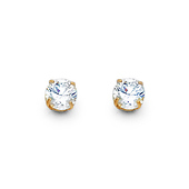 4mm 14K Yellow Gold Round Cut Cubic Zirconia Stud Earrings